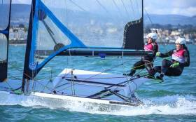 Annalise Murphy and Katie Tingle begin their journey to the Tokyo 2020 Olympics in their new 49er FX on Belfast Lough next month