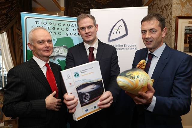 Pictured were Dr Willie Roche, Senior Research Officer at Inland Fisheries Ireland, Minister Sean Kyne T.D. and Dr Cathal Gallagher, Head of Research at Inland Fisheries Ireland at the launch of the Celtic Sea Trout Project.