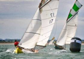 The Howth 17 Oonagh leading her sister-ship Deilginis, which will be defending the class's championship title this weekend. Oonagh is owned by Peter Courtney, whose family have been involved with the class since 1907