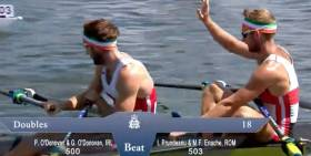 Gary O'Donovan thanks the Romanian crew after their race at Henley
