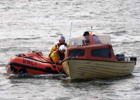 Wicklow's inshore lifeboat tows the stricken angling boat to safety