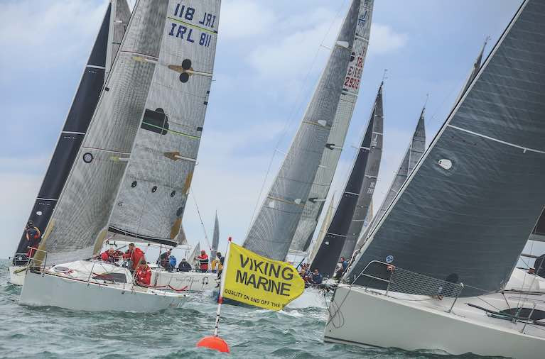 IRC yachts start a race on Dublin Bay, Ireland's largest sailing centre is among the many harbours where racing has been heavily curtailed by COVID-19