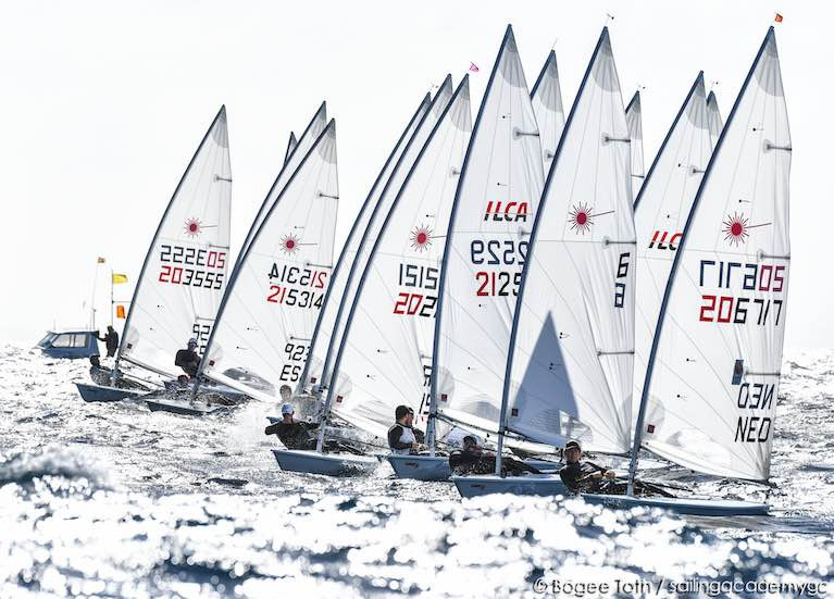 A start of the ILCA 7 fleet at the Lanzarote Winter Series