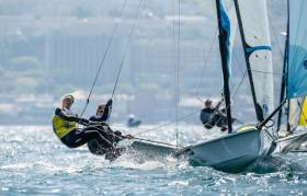 Dun Laoghaire's Saskia Tidey of the Royal Irish Yacht Club on the wire in Weymouth