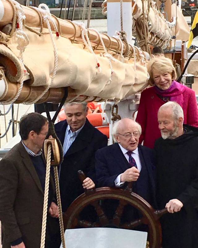Aboard Ilen in Limerick Docks are (left to right) boatbuilder Liam Hegarty of Baltimore, Gary MacMahon of the Ilen Project, President Higgins, Brother Anthony Keane of Glenstal Abbey, and Sabina Higgins