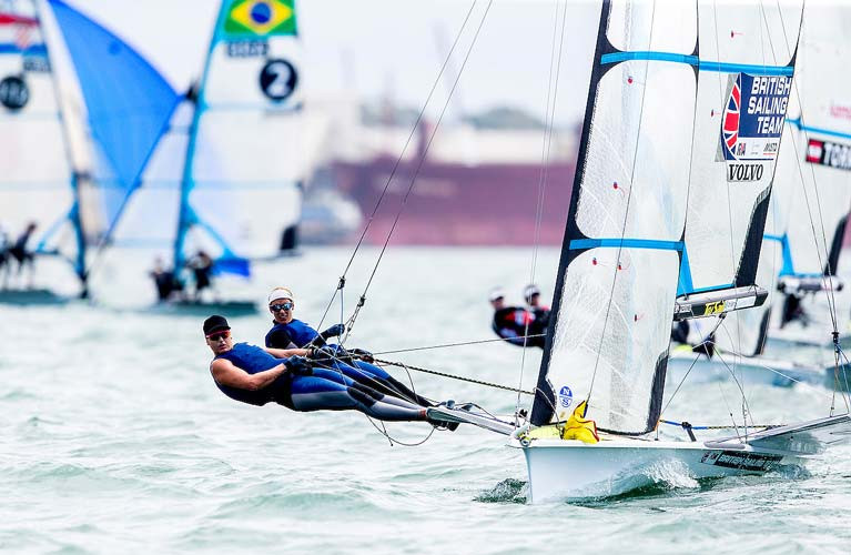 Saskia Tidey and Charlotte Dobson lead the 49erFX Worlds