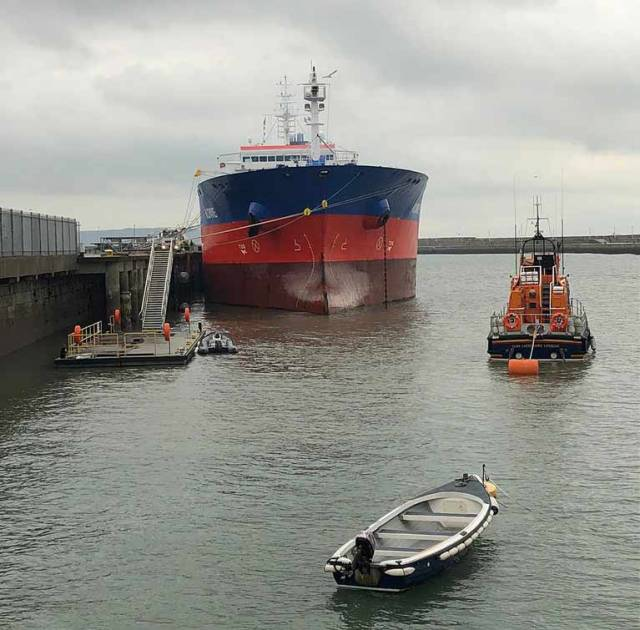 The tanker bunkering in Dun Laoghaire on Friday