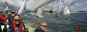 The Clipper Race fleet battles for position leaving Hobart on Friday morning
