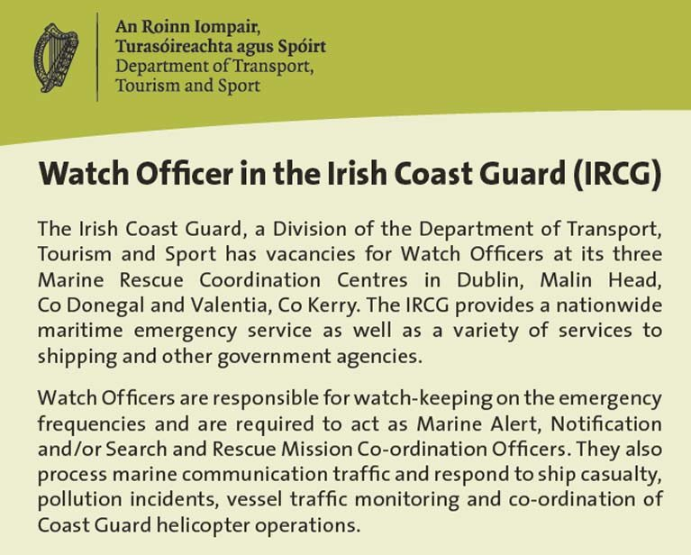 Watch Officer in the Irish Coast Guard (IRCG)