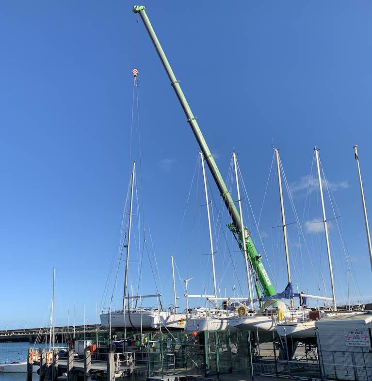 Thanks to the use of a long-jib crane, the National Yacht Club boat-deck storage space is optimised for winter lay-up of members' boats