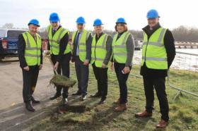 Turning the first sod on the Meelick Weir project on Friday 1 March
