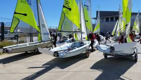 The Irish RS Feva national championships fleet launch for its first race at Greystones Sailing Club today