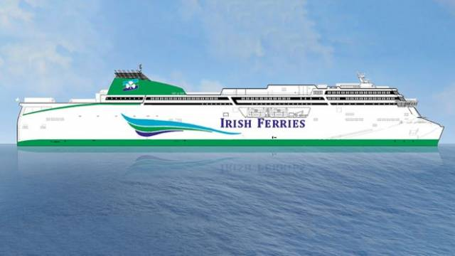 Intended for service on the Dublin – Holyhead route in 2020, this second new vessel (after W.B. Yeats) will be the largest cruise ferry in the world in terms of vehicle capacity with accommodation for 1,800 passengers and crew. Vehicle decks (5,610 freight lane metres), capable of carrying 330 freight units per sailing – a 50% increase in peak freight capacity compared to current flagship Ulysses (see link below to Irish Times photo).