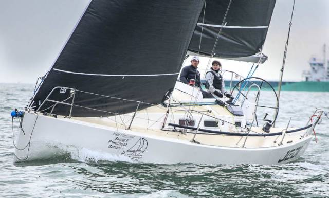 UK Sailmaker Graham Curran sail testing the new UK Sails J1 – JX Jib on Dublin Bay