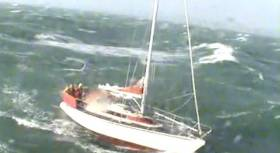 Conditions were extremely challenging with force nine winds with a six metre sea swell. Scroll down for video