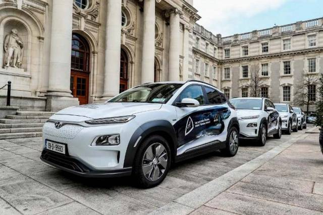 Inland Fisheries Ireland's new fleet of electric cars at Government Buildings