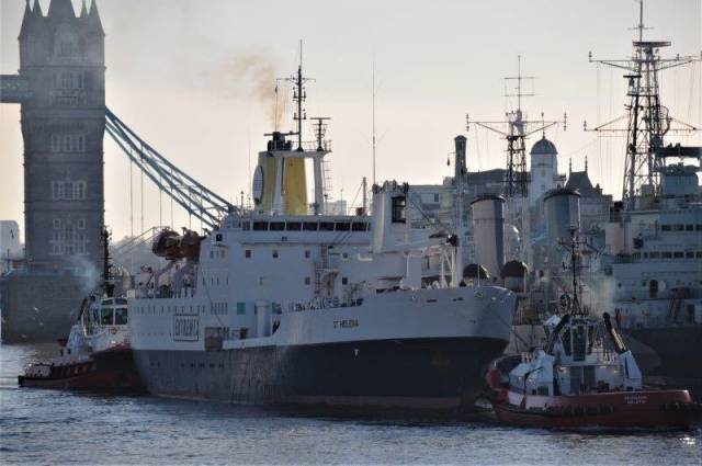 Former Royal Mail Ship (RMS) St Helena having passed through Tower Bridge, arrives to moor alongside HMS Belfast in the Pool of London this week (see link below to Afloat's 2016 coverage). St. Helena's visit was to promote Extreme E electric car racing launching in 2021 as the ship will transport the championship's supplies and equipment. Afloat adds in 1995, RMS St. Helena made a once-off charter to Swan Hellenic Cruises with calls to Ireland, Dublin and Cork (Cobh), Isle of Man and the Western Scottish Isles.