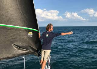 Conor Totterdell (RStGYC) at the start of the Chicago to Waukegan Race last month