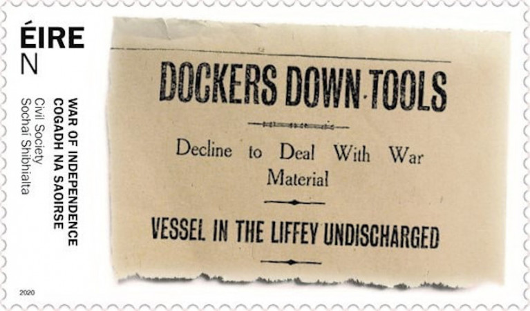 Dublin Port Highlights Stamp Commemorating 1920 Dublin Dockers' Munitions Strike
