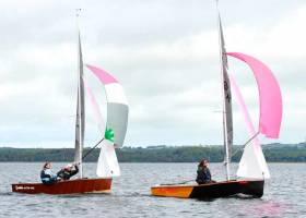 Ding-dong in yesterday's final race in the GP 14 Nationals at Sligo – Ger Owens & Mel Morris (RStGYC) narrowly lead Curly Morris (East Antrim BC) & Laura McFarlane (Newtownards SC)
