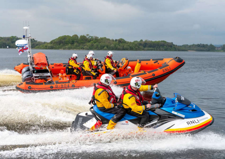 File image of Carrybridge RNLI's volunteers on the water