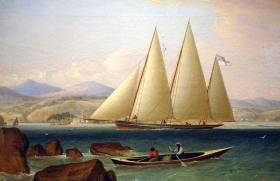 This famous 1834 aquatint by J Lyons of a schooner from Bermuda sailing in the Caribbean shows that the straightforward Bermudan rig was already old hat when it caught on elsewhere in the 20th Century