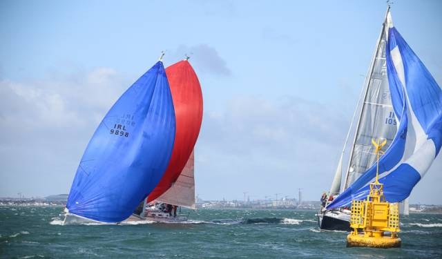 Three J109s approach a gybe mark in last Sunday's DBSC Spring Chicken Race on Dublin Bay
