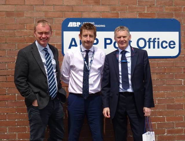 Tim Farron, the British M.P (on left) who recently visited the Irish Sea Port of Barrow, Cumbria. Afloat adds accompanying the former Liberal Democrats leader until July 2017, is Carl Bevan, North West Divisional Port Manager at Barrow, part of the large UK ports group, Associated British Ports (ABP).
