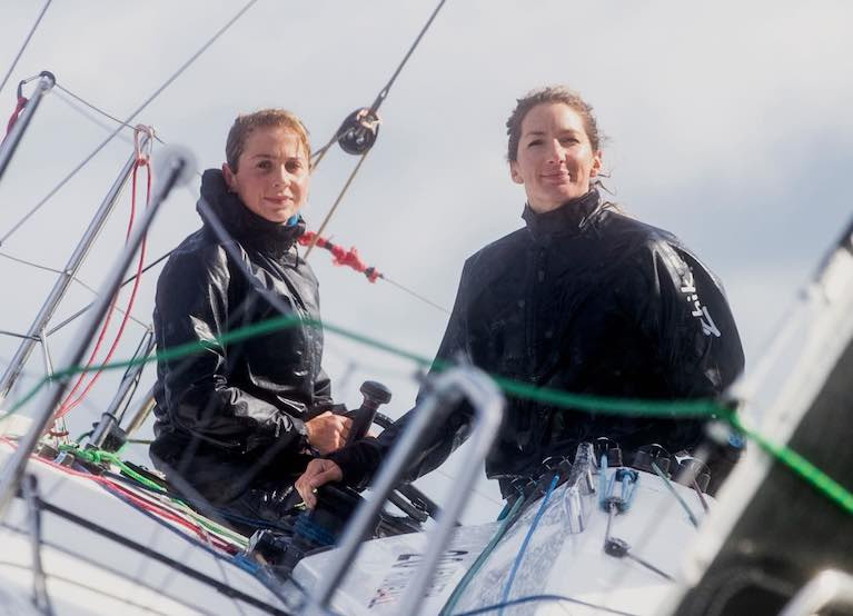 Catherine Hunt and Pamela Lee of Greystones aboard Iarracht Maigeanta. Their new double-handed Round Ireland Time has added significance when set in the full historic framework