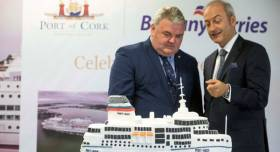 Port of Cork chairman John Mullins and Brittany Ferries chief executive Christophe Mathieu at a special ceremony yesterday which Afloat adds that the cake of the flagship 'Pont-Aven' was to celebrate 40 years of the Ireland-France service.