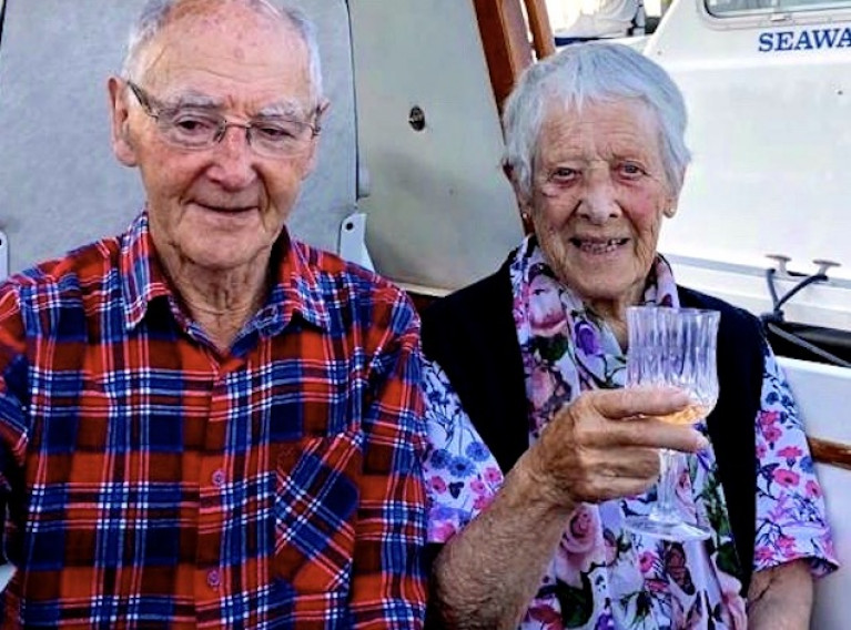 Happy Anniversary! Neville and Jean Maguire quietly celebrate 69 years of marriage on board their motor-cruiser in Howth Marina. Photo: Judith Malcolm