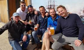 The crew of Conor Fogerty's yacht BAM from Howth Yacht Club enjoying their latest European/RORC adventure