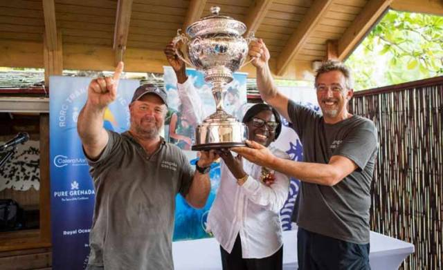 (Right) Richard Palmer's JPK 10.10 Jangada, racing two handed with Jeremy Waitt (left) receive the magnificent  RORC Transatlantic Race Trophy from Dr Clarice Modeste-Curwen, Minister for Tourism and Civil Aviation, Grenada