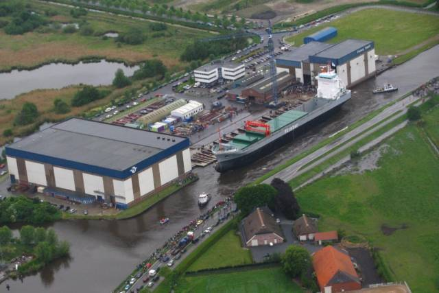 Ferus-Smit's Dutch yard at Westerbroek which is currently rolling out 5,200dwt cargsoships for Arklow Shipping. They have announced an order for further newbuilds of four larger handy-sized bulkers.