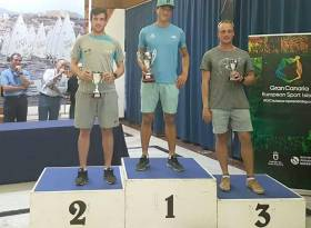 Finn Lynch on the podium in the Canaries this month