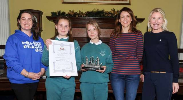 Overall winners Katelyn Stokes and Sandra Zoledziewska of St Columba's GNS with facility for deaf children, are all smiles along with from left: Susan Vickers of An Taisce Clean Coast Programme, Aoife Dineen of the Marine and Renewable Energy Centre Ireland (MaREI) and Sara Mackeown of the Port of Cork, at the Port of Cork primary schools initiative, at Custom House, Cork