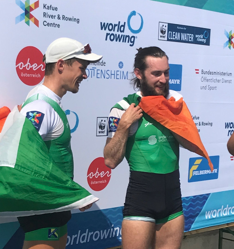 World Champions Fintan McCarthy and Paul O'Donovan in Linz in 2019.