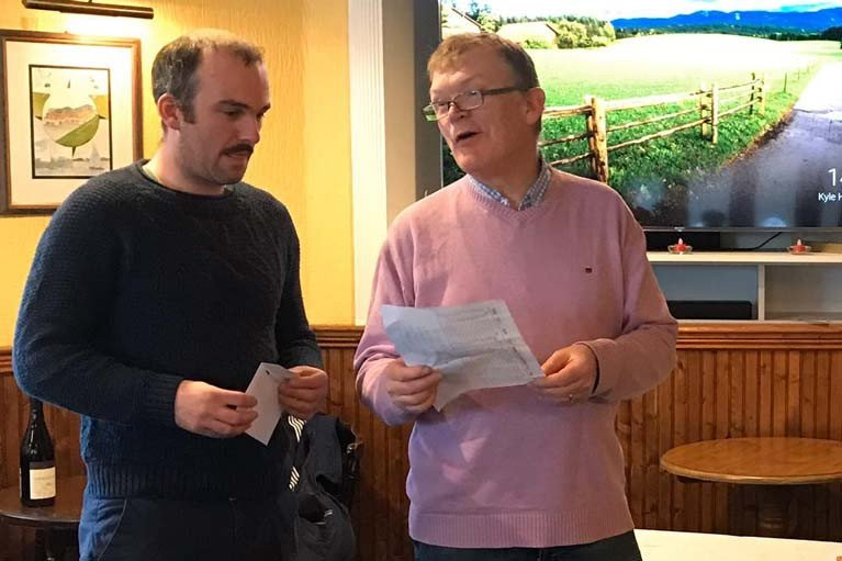 Ronan Wallace (left) collects his prize at WHSC