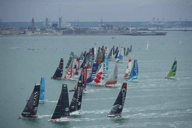 At the start both IMOCA and Class40 fleets were tightly bunched, but line honours appeared to go to Bureau Vallée II (IMOCA) and Aïna Enfance and Avenir, the Class40 favourite
